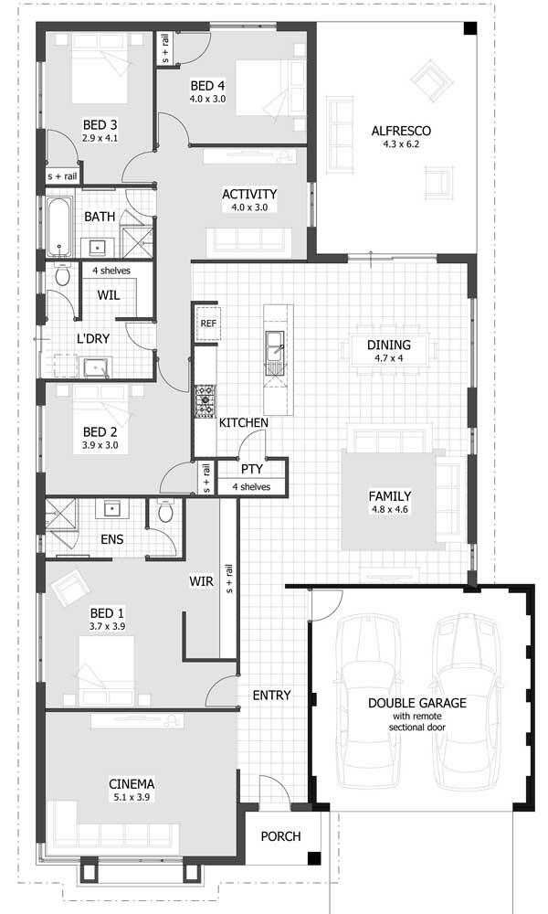 Aqui, a planta traz um espaço de cinema, garagem interna, sala de jantar em conceito aberto e quatro quartos