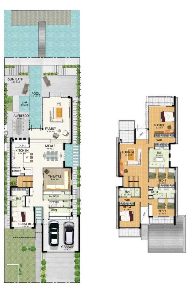 Planta para imóvel de dois andares com piscina, garagem e quatro quartos, sendo uma suíte máster