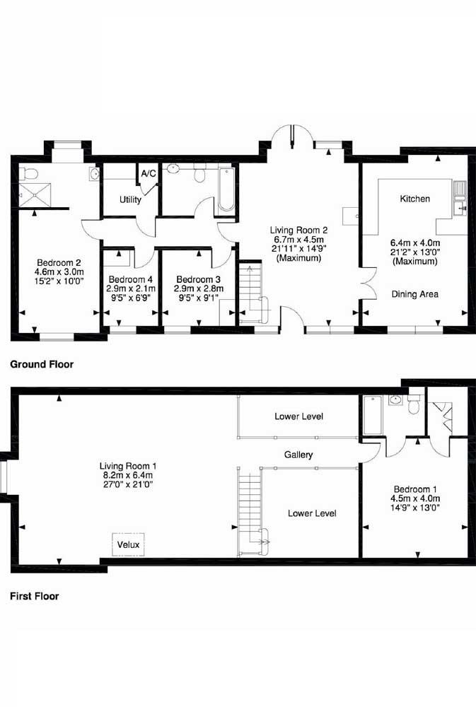 Nessa planta de dois andares, os quatro quartos foram divididos, ficando uma suíte no pavimento inferior e três quartos no andar superior