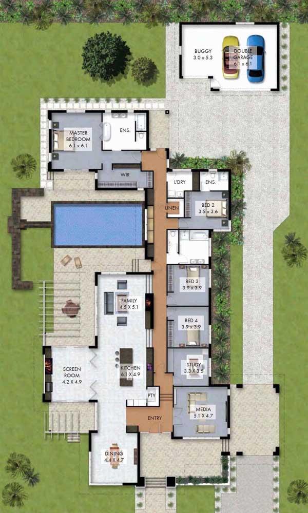 Modelo de planta de casa com piscina, quatro quartos e garagem externa
