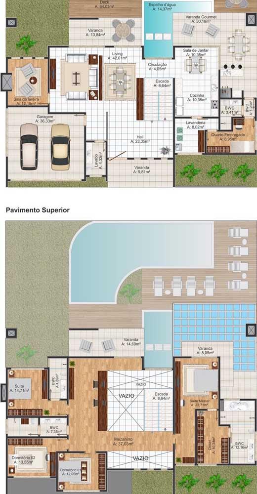 Planta de casa com dois andares, piscina e garagem interna. Os quatro quartos foram planejados juntos, sendo um deles a suíte máster