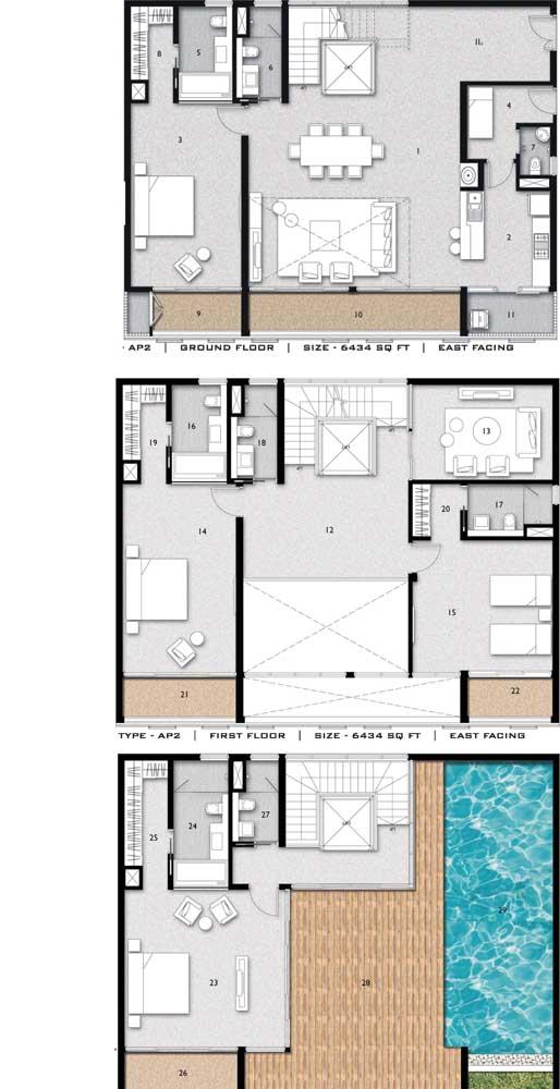 Inspiração de planta de casa com dois pavimentos, quatro quartos e piscina