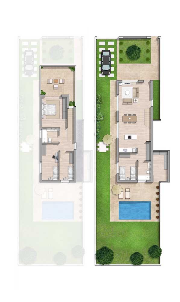 Planta simples e bem planejada de casa com dois andares e piscina, além dos quatro quartos