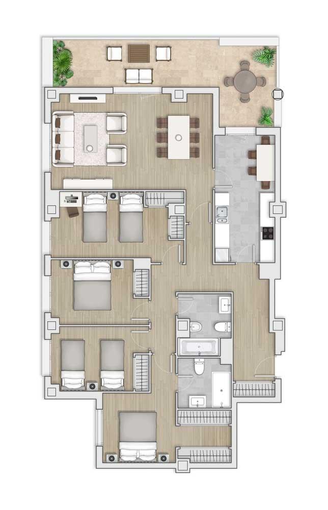 Modelo de planta com quatro quartos, suíte máster e sala de estar integrada