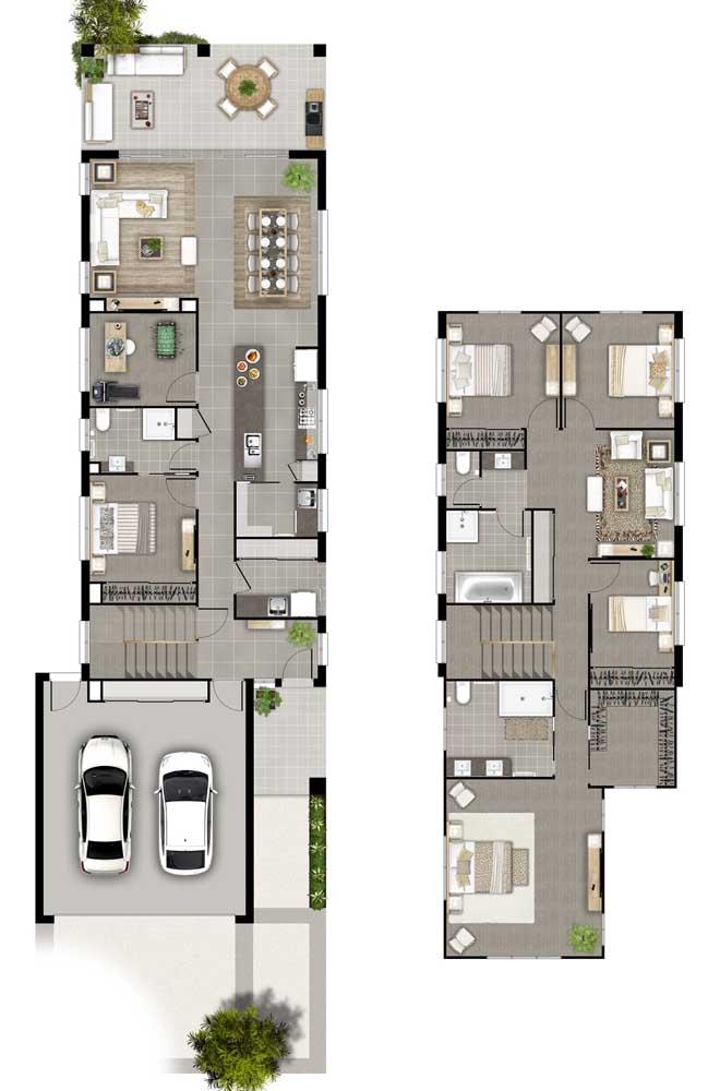 Planta 3D de casa com quatro quartos, sendo duas suítes com closet, sala e cozinha integrados