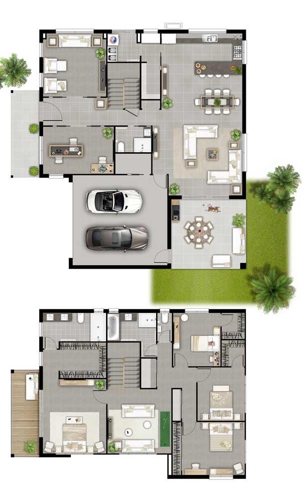 Planta de casa com dois andares, quatro quartos e living exclusivo
