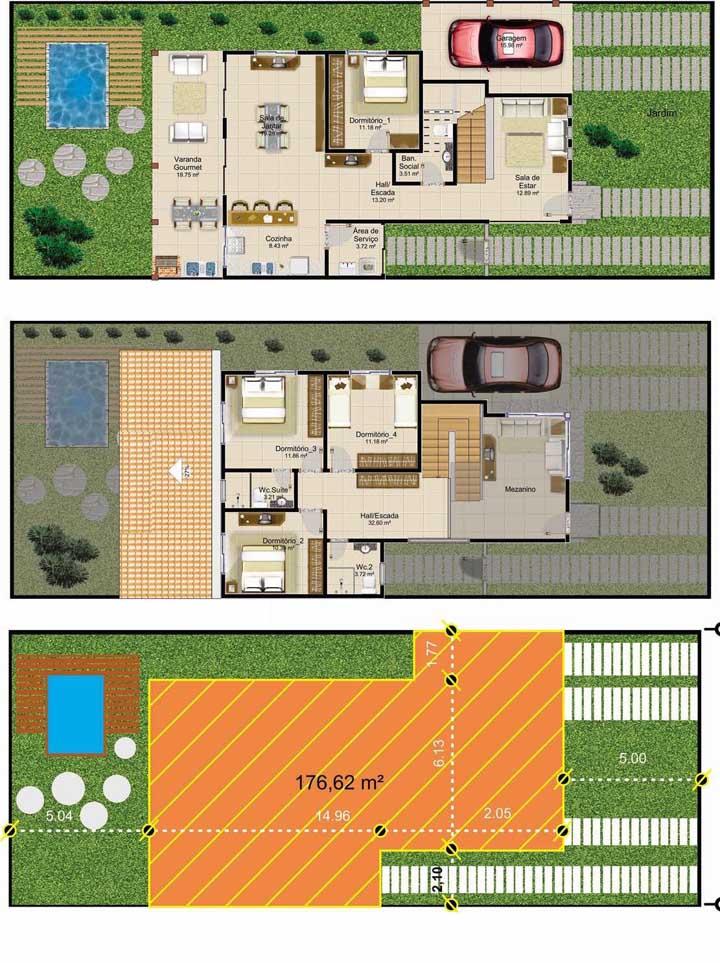 A planta da casa com piscina contou com garagem e quatro quartos