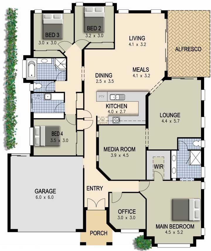 Modelo de planta com lounge, garagem interna, escritório e quatro quartos