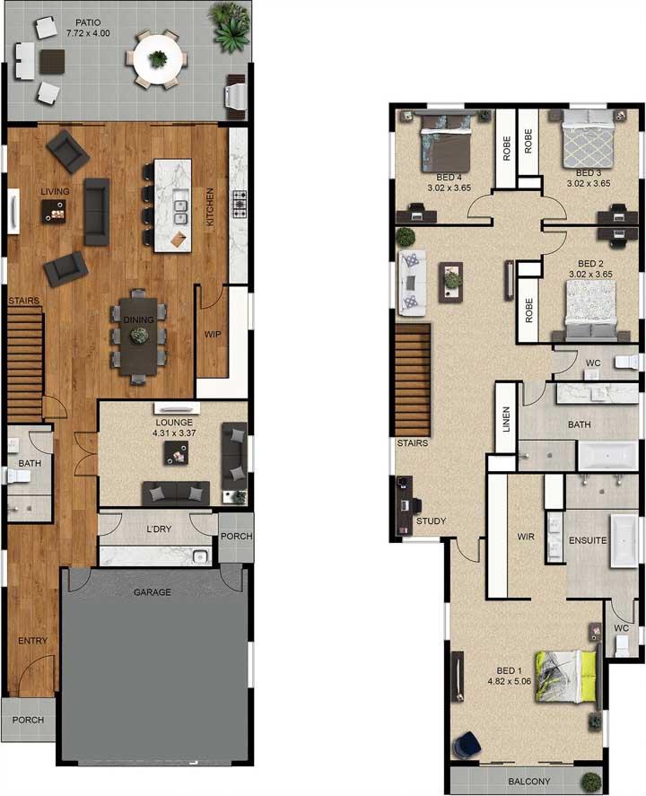 Planta com dois pavimentos, sendo que no primeiro fica a cozinha integrada com ilha e no segundo, os quatro quartos, onde um deles conta com varanda