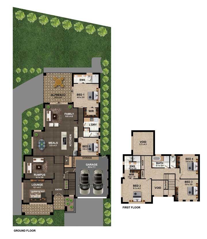 Modelo de planta com garagem, quatro quartos, cozinha em conceito aberto e varanda ao fundo