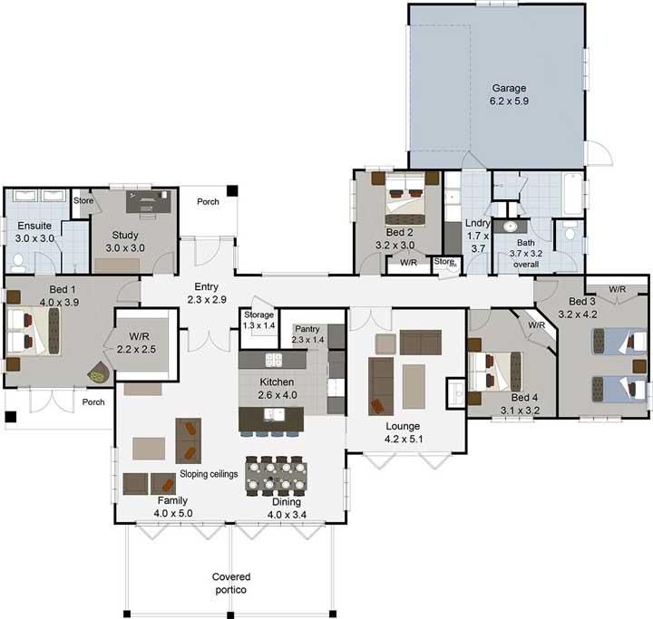 Para um terreno extenso, foi desenhada essa planta com quatro quartos, sala de jantar integrada e garagem