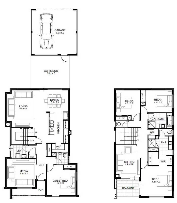 Planta de casa com quatro quartos distribuídos entre os dois pavimentos