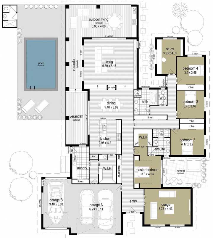 Modelo de planta de casa grande com piscina, garagem para carros e barco, quatro quartos e living externo