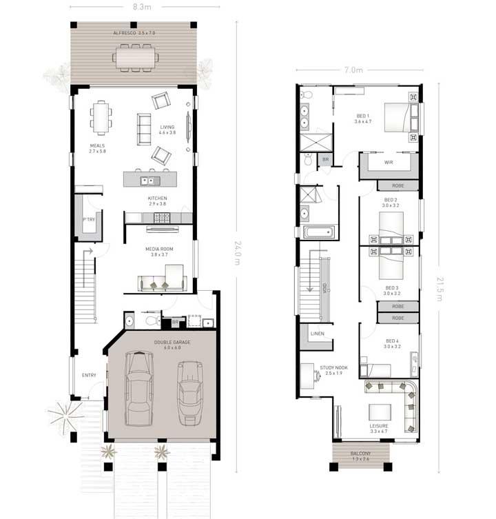 Planta de dois andares com garagem, cozinha americana integrada e quatro quartos