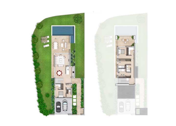 Planta de casa com dois pavimentos, piscina e quatro quartos, sendo um no andar inferior