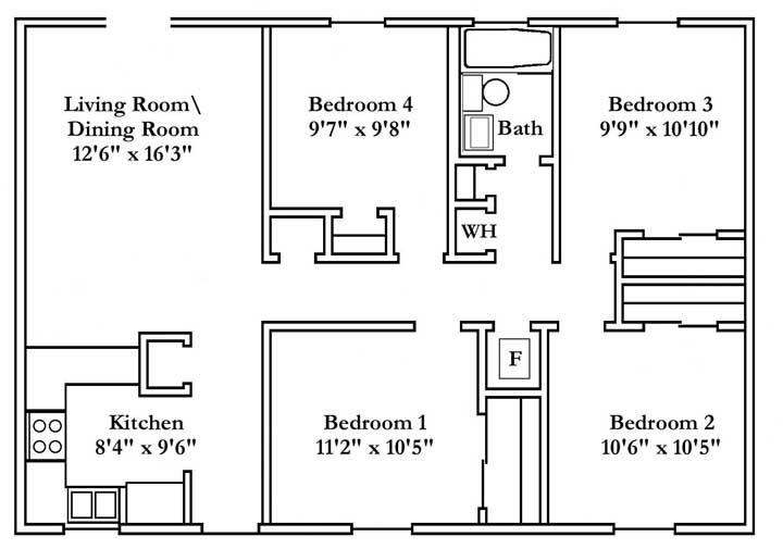 A casa compacta também contou com quatro quartos bem planejados e sala integrada