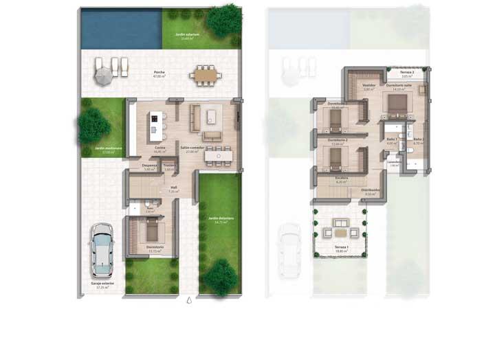 Inspiração de planta de casa com piscina, garagem, quatro quartos e salas integradas