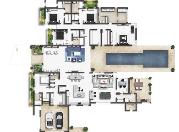 Planta de casa com piscina, garagem interna, ambientes integrados e quatro quartos dispostos em orientações diferentes do imóvel