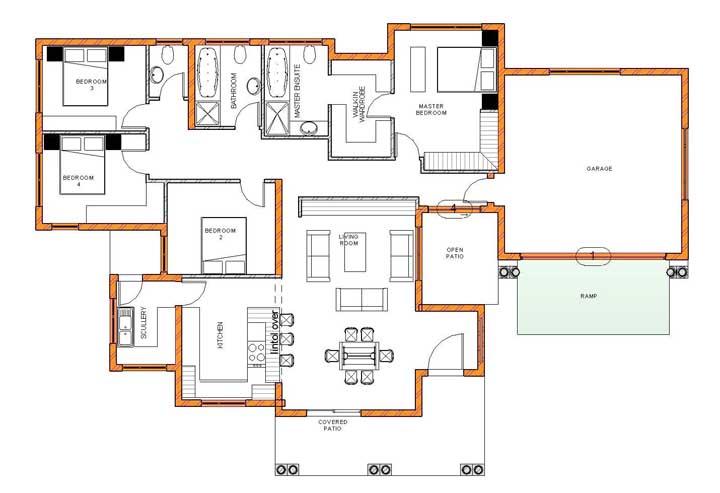 Modelo de planta térrea com garagem, salas integradas e quatro quartos