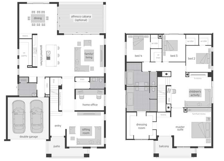 Planta para imóvel com dois pavimentos, garagem, varanda, cozinha em conceito aberto e quatro quartos, sendo uma suíte máster