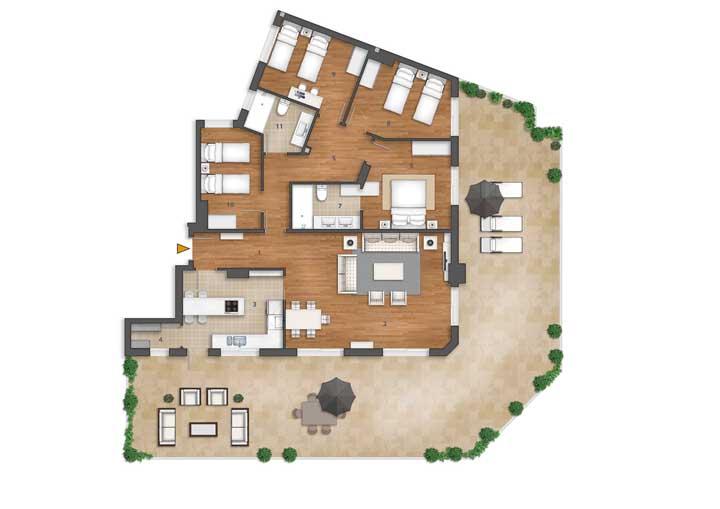 O formato irregular do terreno fez com que a planta fosse bem planejada para compor os quatro quartos