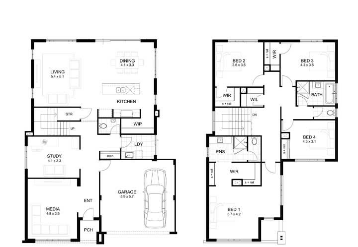 Planta para imóvel com dois pavimentos, garagem e quatro quartos no andar superior