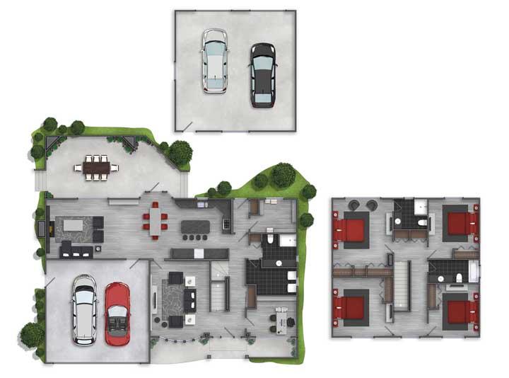 Nessa inspiração, a planta trouxe duas opções de garagem, enquanto os quatro quartos foram colocados no andar superior