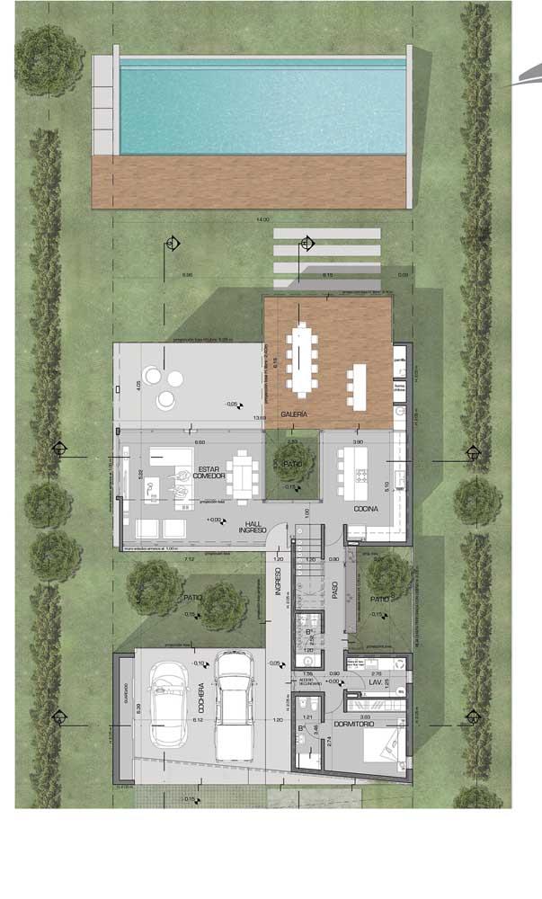 Planta de casa com piscina e garagem interna no andar inferior