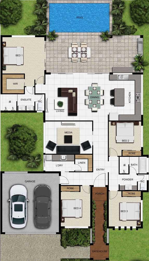 A planta do imóvel ficou ótima com a disposição dos quatro quartos, sendo que um deles teve acesso à varanda e aos ambientes integrados da casa