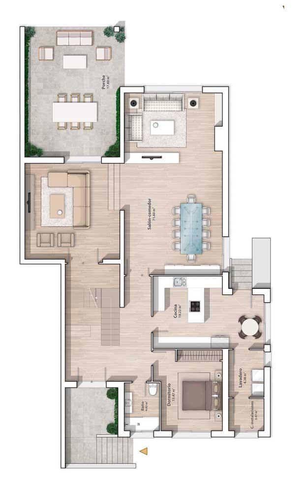 Modelo de planta com sala integrada, varanda e um quarto