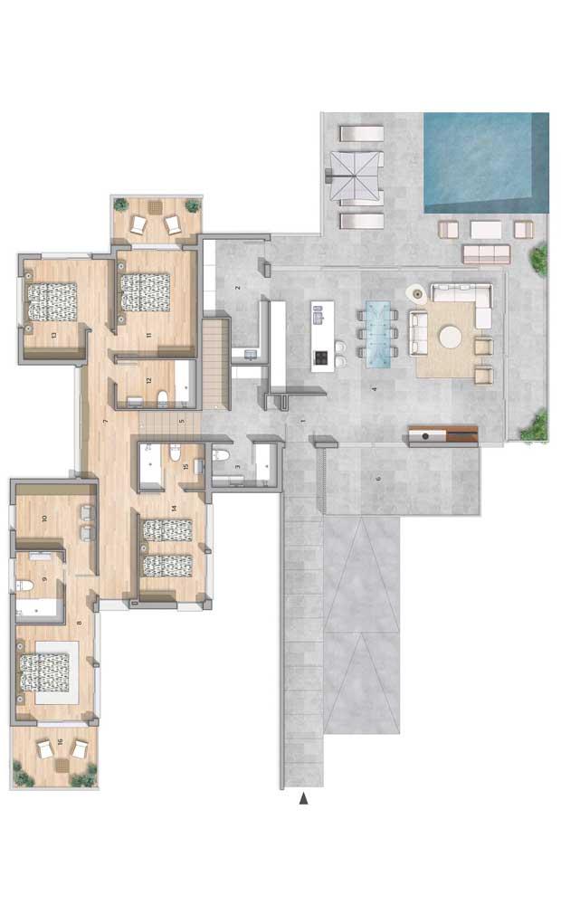 Já no pavimento superior, ficam os quatro quartos e a vista para a piscina do imóvel