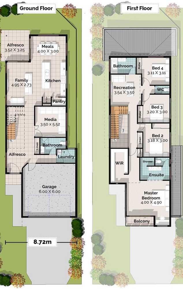 Planta de casa com dois pavimentos, quatro quartos, suíte máster e garagem interna