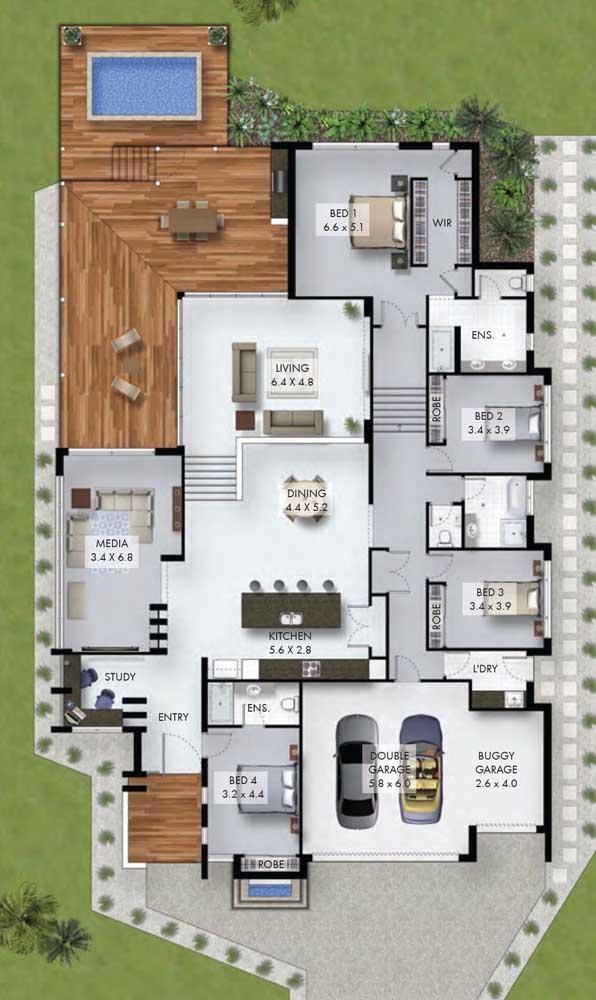 Esse modelo de imóvel térreo, perfeito para terrenos retangulares, ganhou quatro quartos alinhados com corredor com acesso exclusivo para a garagem