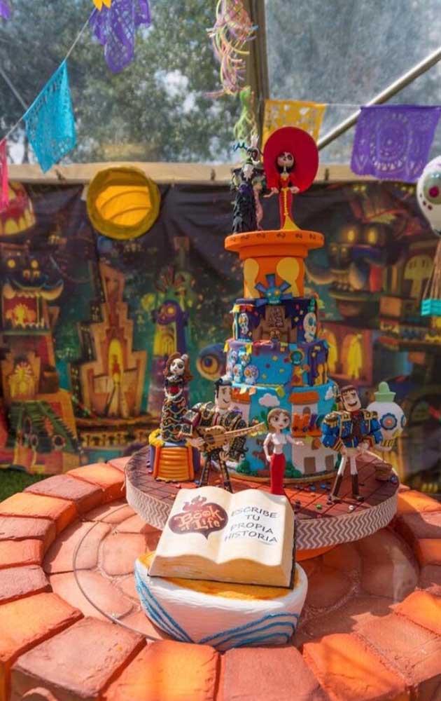 """Que linda essa mesa de bolo decorada no tema """"Festa no Céu"""""""