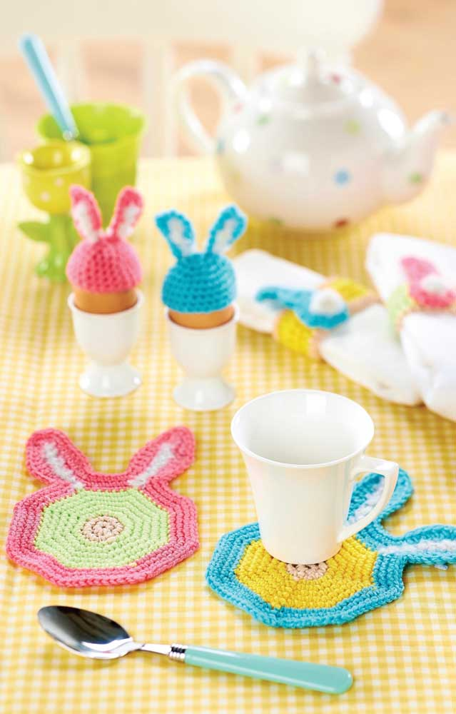 Guardanapos de crochê com orelhinhas; perfeitos para acompanhar as crianças nas refeições ou para serem usados em festinhas