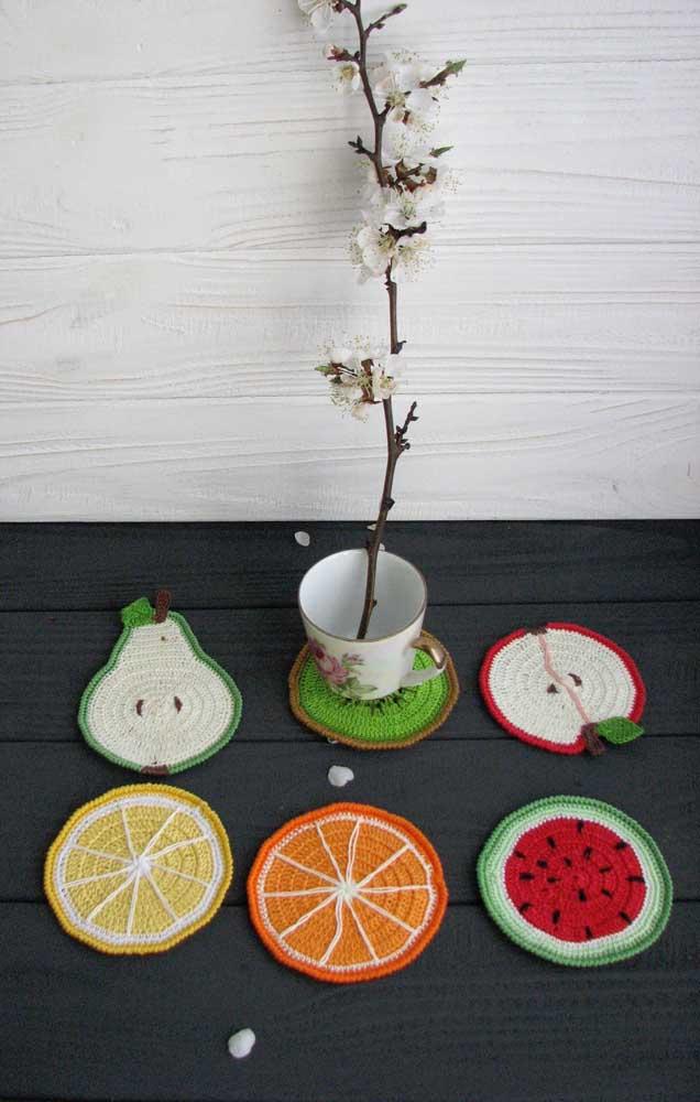 Coleção de guardanapos de crochê inspirados em frutas, ficaram lindos!
