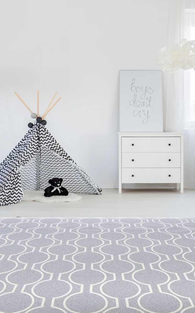 E tem tapete emborrachado para compor a decoração escandinava também! Olha só que modelo lindo