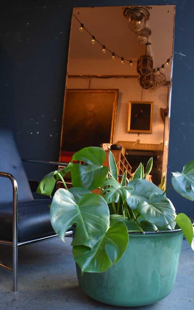 Cores contrastantes em conjunto com o espelho bronze para criar uma decor despojada e cheia de personalidade