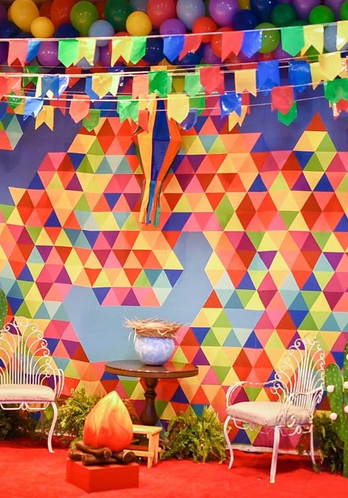 Veja que painel fantástico você pode fazer para o aniversário tema festa junina infantil.