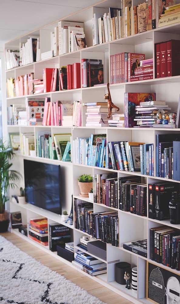 Biblioteca em casa montada na sala de estar; repare que um dos critérios de organização dos livros é pela cor