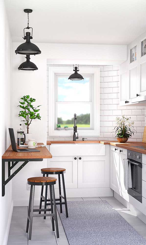 Uma mesa bancada retrátil para a cozinha pequena, uma solução linda, prática e barata
