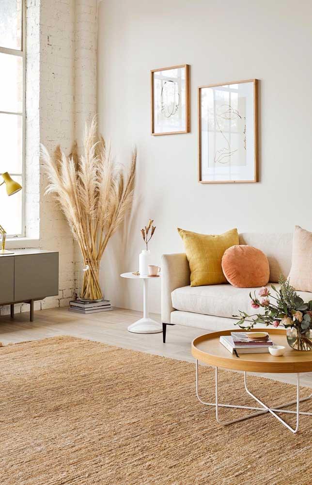 Combinação perfeita entre a cor marfim e as texturas naturais do ambiente