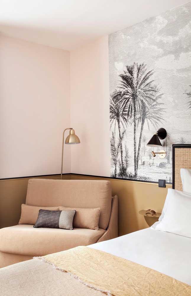 Paleta de beges para esse quarto, entre as diferentes tonalidades está a cor marfim