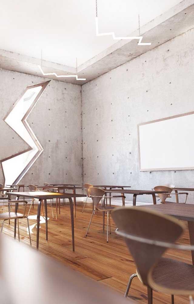 Sala de aula moderna e rústica