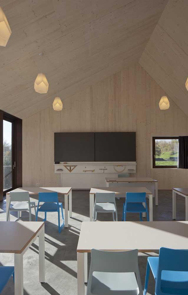 Que tal cadeiras azuis na sala de aula?