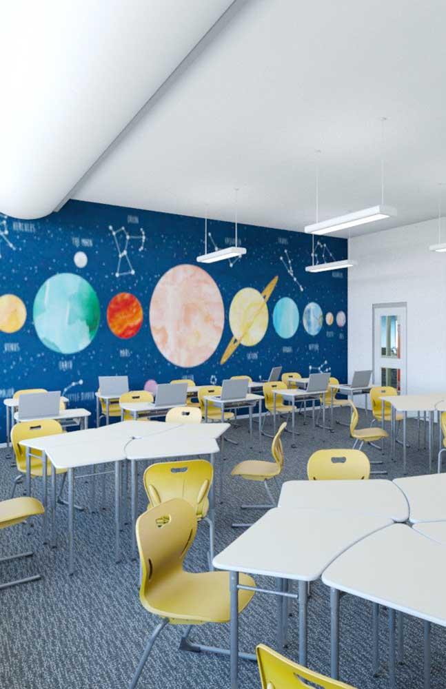 Decoração de sala de aula com tema universo