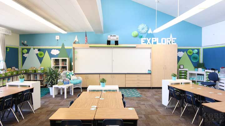 Decoração de sala de aula com tema de montanhas