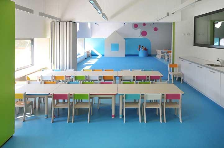 Integração é a palavra que define a decoração dessa sala de aula infantil
