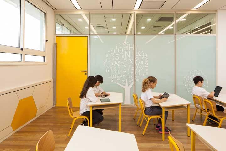 Uma árvore de letras e números dentro da sala de aula