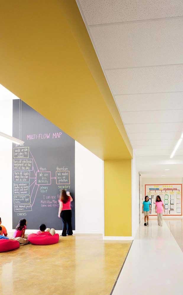Uma sala de aula moderna com parede lousa até o teto e puffs no lugar de cadeiras e carteiras.